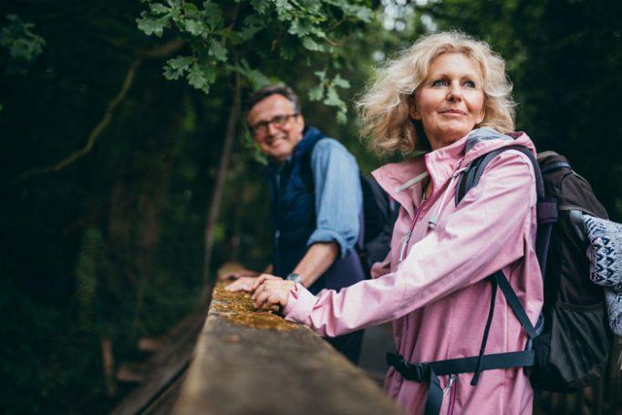 Senior couple hiking.