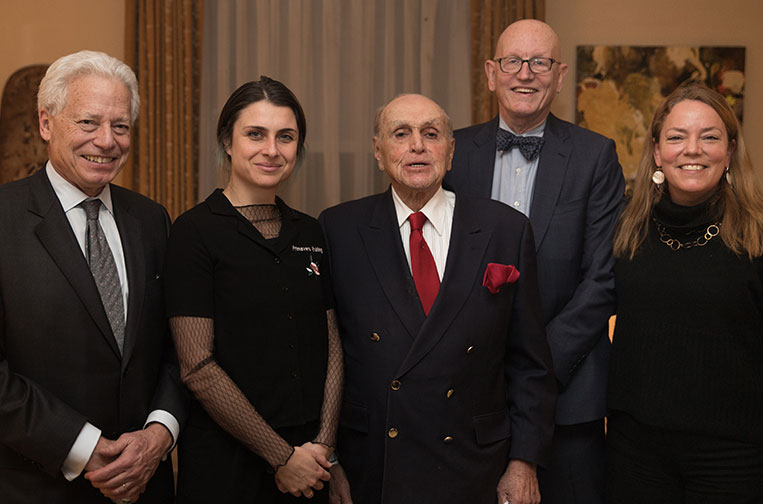 From L to R: Hugh Freund, Rachel Rossin, Robert Levinson, Robert Edgar, and Bree Jeppson at the award celebration. Photo by Marty Lipp for The Trust