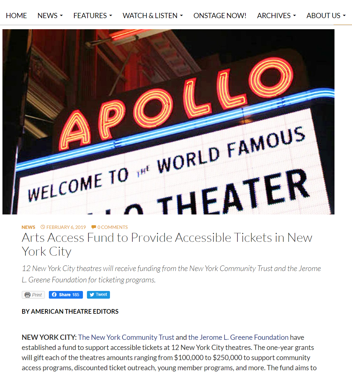 American Theatre Article
