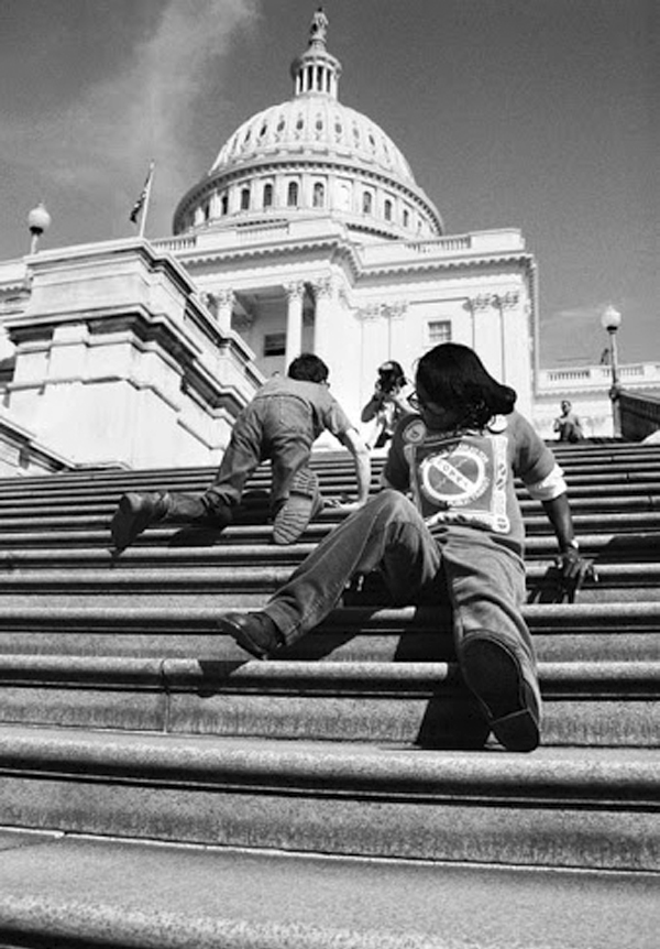 People with disabilities who tossed their mobility aids aside and pulled themselves up the steps of the Capitol to protest in 1990.